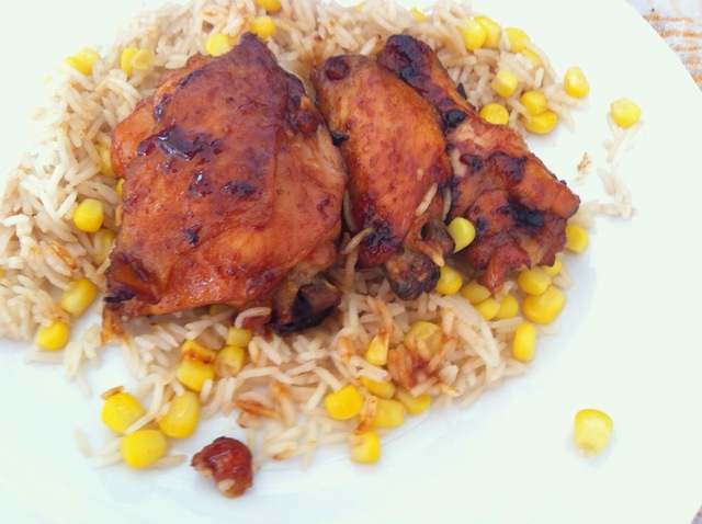 Sticky ginger, orange and honey chicken with soy rice and sweetcorn