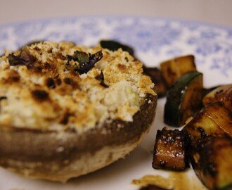 Brie Stuffed Mushrooms with Balsamic Courgettes