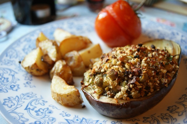 Baked Olive and Herb Stuffed Aubergines