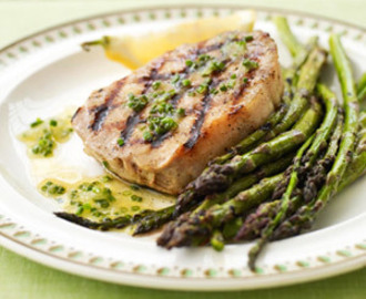 Grilled Pork and Asparagus with Lemon Dressing