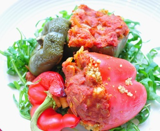 Halloumi Stuffed Peppers with a Spicy Tomato Sauce
