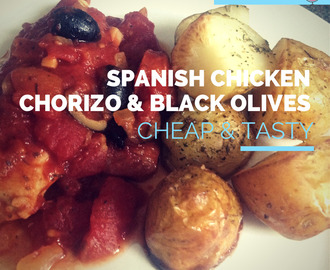 World Cup Special Recipe - Spain vs Chile - Spanish Chicken with Chorizo and Black Olives