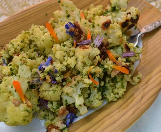 Roasted cauliflower salad with millet and spring flowers dressed in a simple salsa verde (GF-DF-SF-V)