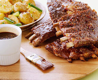 Barbecued Pork Spareribs with Cucumber-Potato Salad