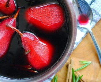 Pears Poached in Red Wine & Rosemary