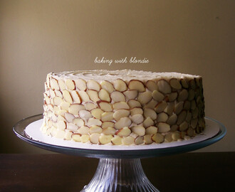 Pear Almond Cake with Cinnamon Brown Sugar Buttercream