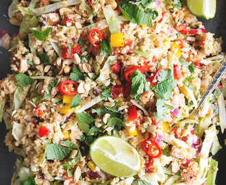 Vegan Thai Quinoa Salad with Peanut Lemongrass Dressing