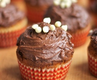 Peanut butter and Malteser cupcakes with chocolate frosting