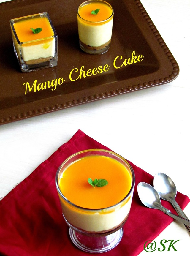 Mango Cheese Cake / No bake version / Baking Partner's Challenge / With stepwise pictures
