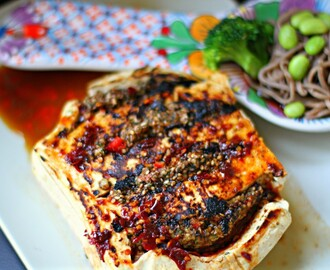 Tofu stuffed with toasted sesame, almonds, sorrel and chili