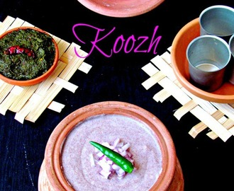 Kezhvaragu Koozh with kothamalli thuvayal  / Finger millet porridge with cilantro chutney