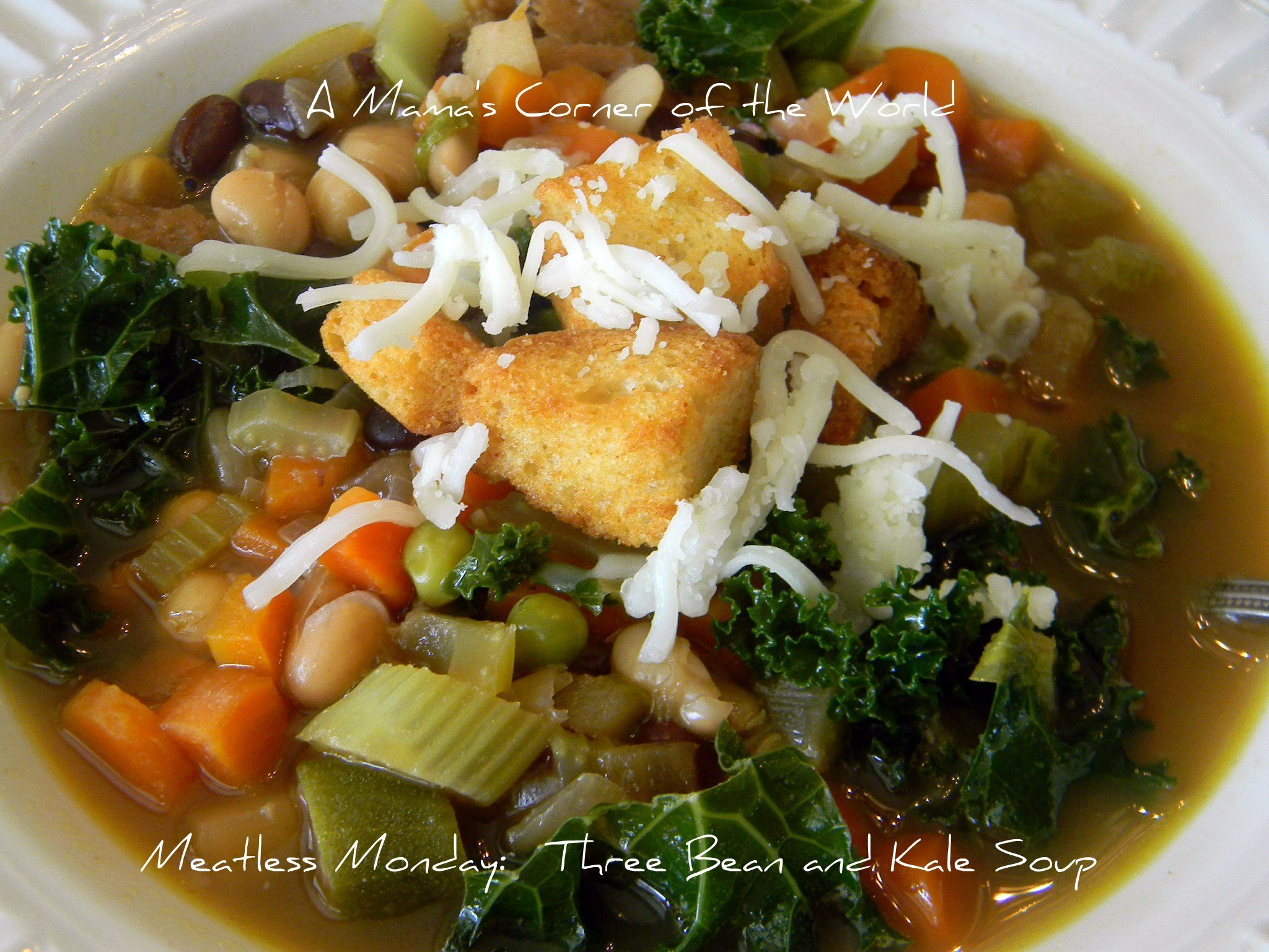 Meatless Monday Recipe Idea:  Three Bean and Kale Vegetable Soup