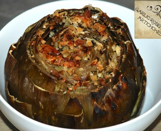 Garlic Rosemary Roasted Artichokes