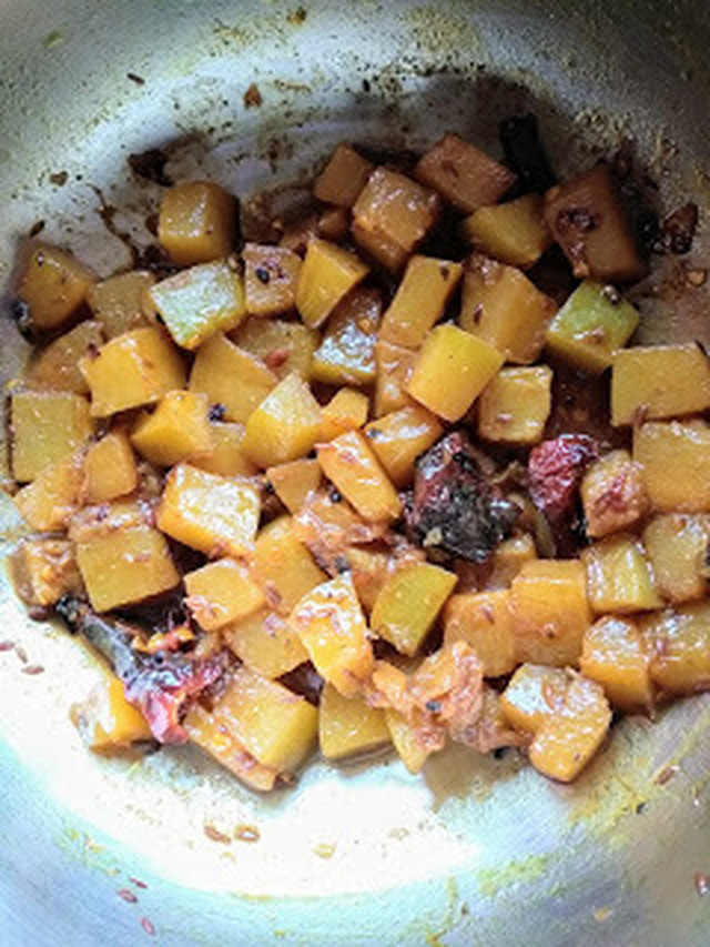 Pumpkin sabzi :North Indian style.