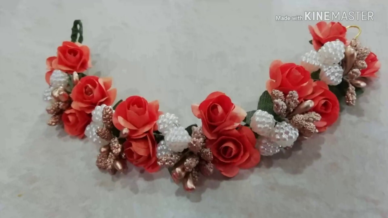 How to make Bridel weddingHair brooch at home /DIY trendy and easy hair jewellery /simple gajara /