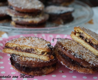 Galletas rellenas de flan de chocolate