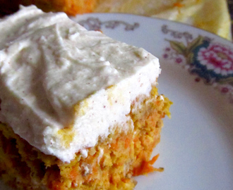 Raw Carrot 'Cake' with Cream Cheese Icing or Dairy Free Cinnamon Frosting