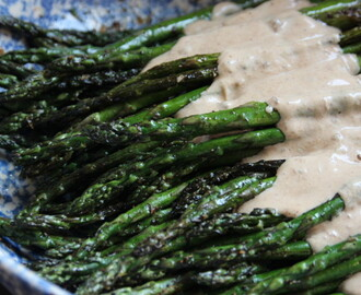 Asperges Grillées (Grilled asparagus with a fig cream sauce)