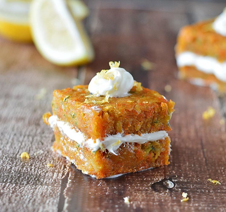 Carrot Zucchini Bars with Citrus Frosting {Vegan}
