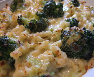 Broccoli, leek and cheese pasta bake