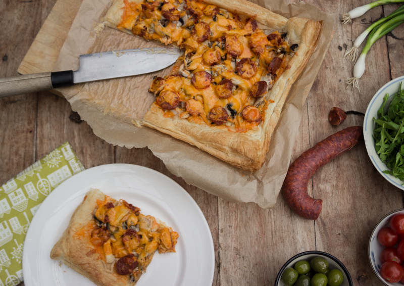 Chicken and chorizo tart