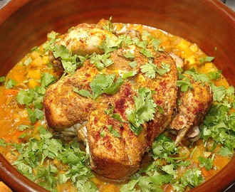 Ginger Pot Roast Chicken, Root Vegetable Masala