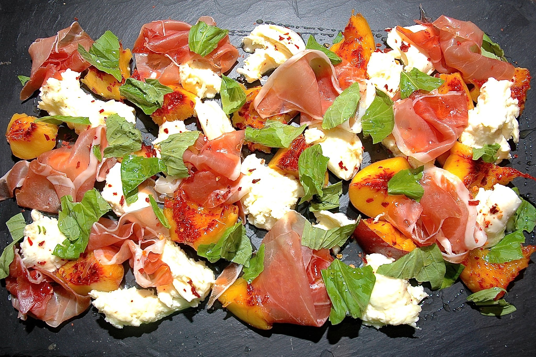 A Salad of Peach, Mozzarella, Parma Ham & Honey