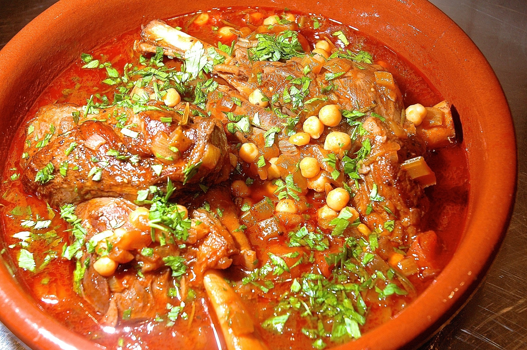 Lamb Shanks Braised with Chickpeas and Mint