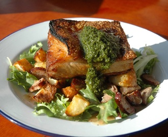 Roast Pork Belly & Rosemary Potatoes, Smoked Sausage & Frisee Salad, Salsa Verde