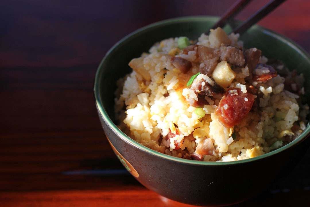 Chinese Sausage and Scallion Fried Rice