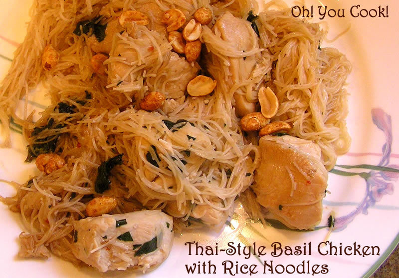 Thai-Style Basil Chicken with Rice Noodles