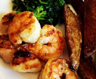 Grilled Shrimp & Scallops with Garlicky Pesto Butter