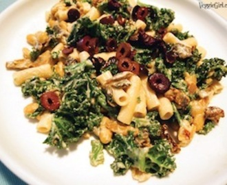 Pasta with Beans and Greens with Creamy Cashew Sauce