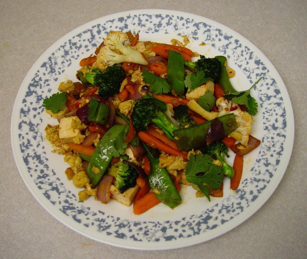 Vegetable Stir Fry with Tofu and Egg