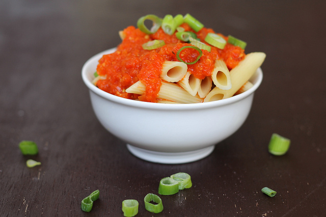 Roasted Red Pepper Sauce Over Pasta - vegan & gluten free