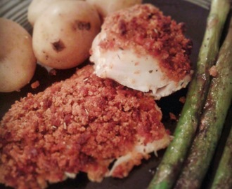 Baked White Fish with a Chilli Chorizo Crust, Salt and Pepper Asparagus and New Potatoes