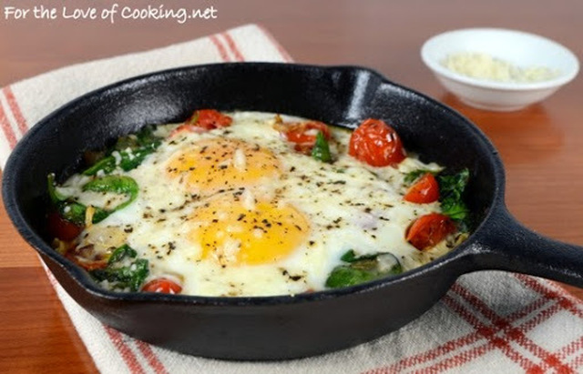 Baked Eggs with Sauteed Onions, Tomatoes, and Spinach