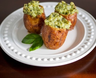 Stuffed Baked Red Potatoes with Basil Pesto (Copycat) and a Giveaway
