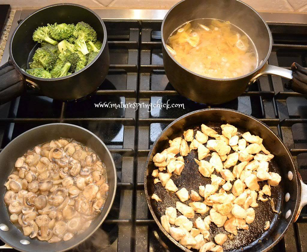 Chicken + Mushroom + Broccoli + Pasta + Cheese = YUM!