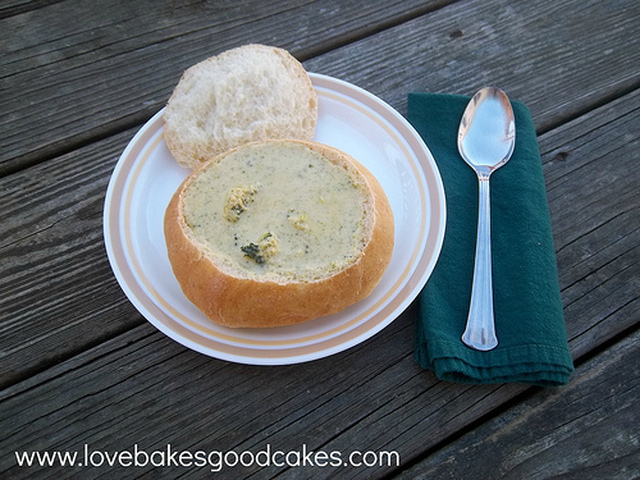 Broccoli and Cheese Soup in Homemade Bread Bowls