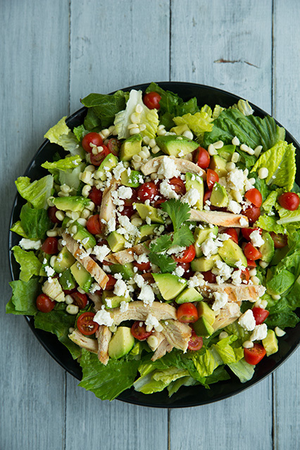 Salad with Grilled Chicken, Avocado, Tomato & Honey-Lime & Cilantro Vinaigrette