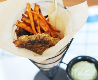 Paleo Fish 'n Chips with Spicy Avocado Tartar Sauce