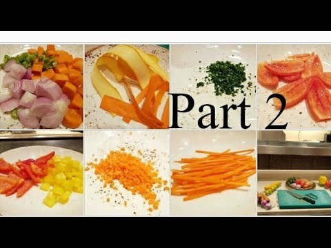 Basics : Different types of vegetable cutting | Part 2 | By Monika Talwar - YouTube
