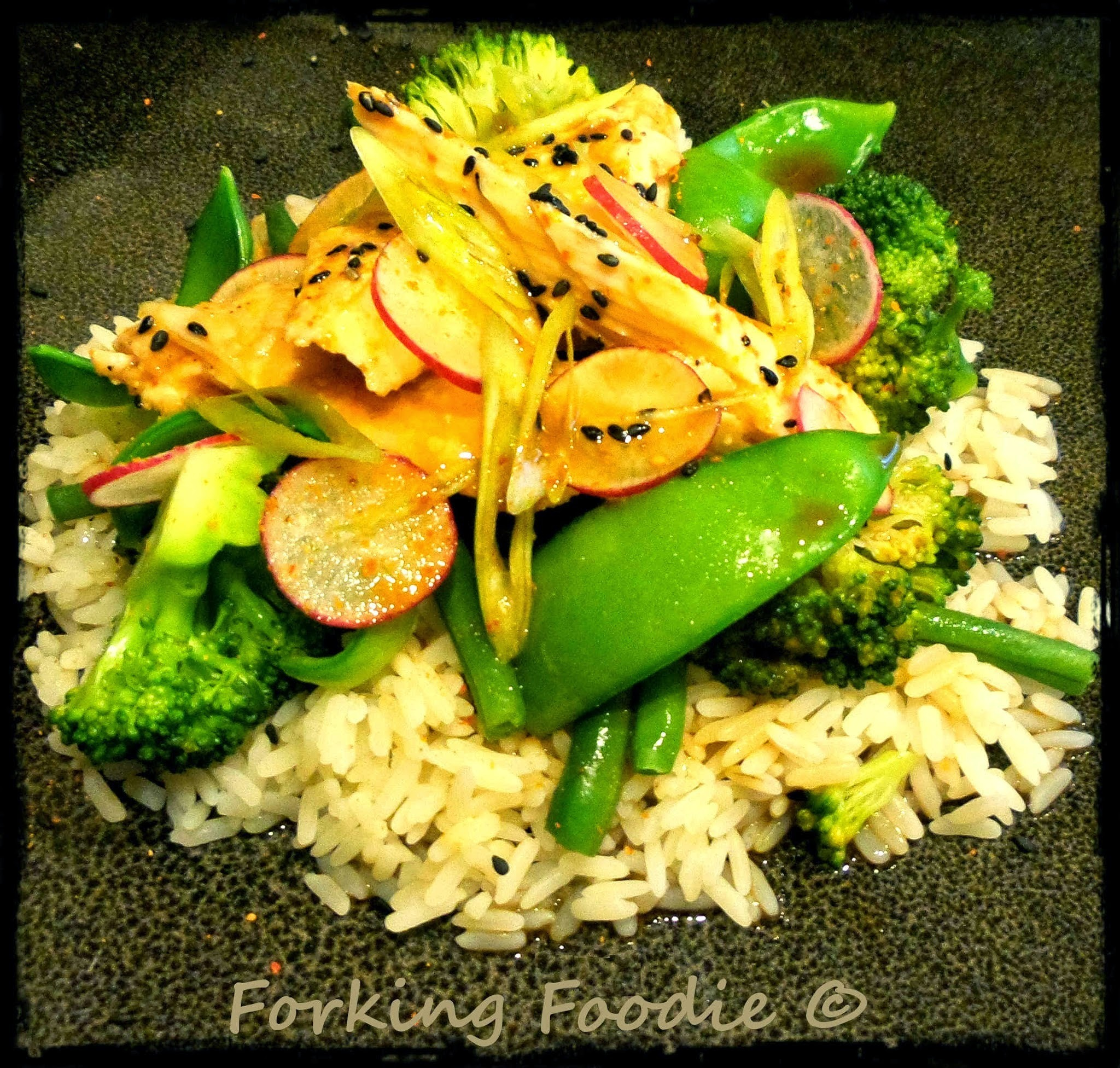 Salmon with Steamed Vegetables in a Japanese Soy and Lime Dressing (includes Thermomix method)
