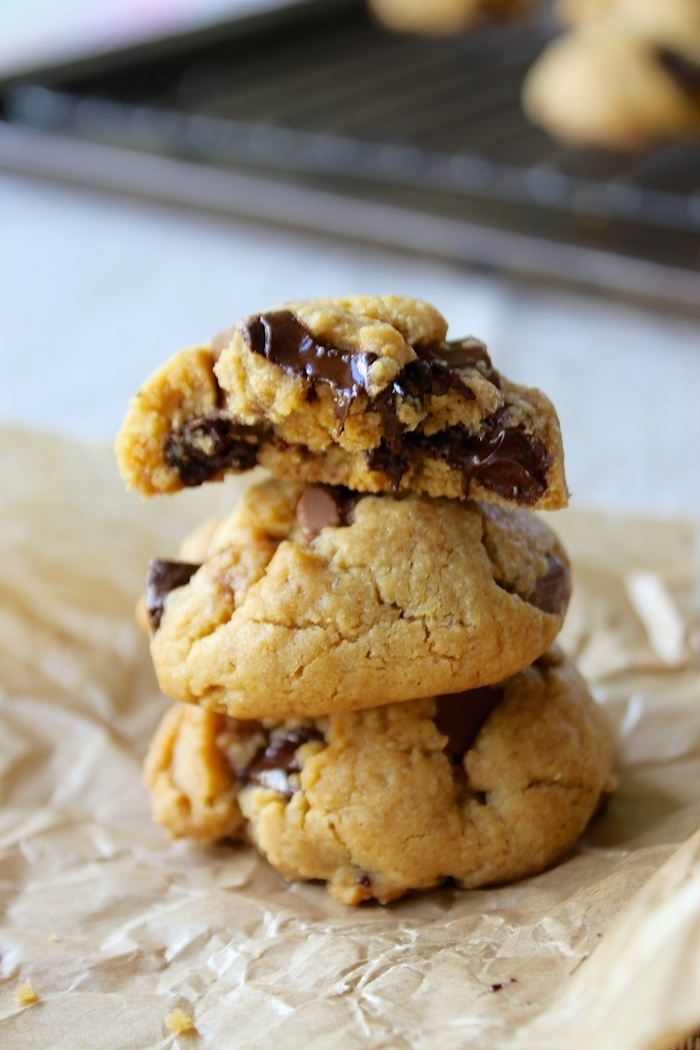 Soft, Thick Peanut Butter Chocolate Chunk Cookies