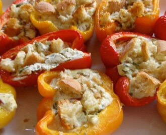 Baked Peppers with Ricotta and Basil