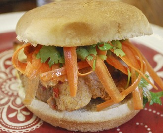 Soy Marinated Pork Sandwich with Carrot Ribbon Salad Topping