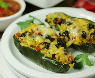 Southwestern Stuffed Poblano Peppers {with Concord Foods' Salsa}