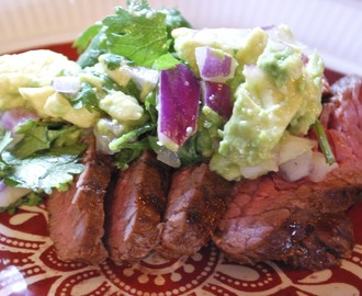 Spice Rubbed Flank Steak with Avocado Salsa