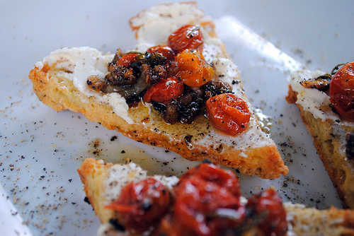 Slow Roasted Tomatoes with Goat Cheese & Gluten Free Focaccia